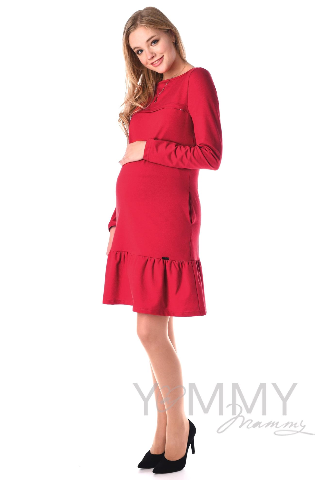 Изображение                               Платье с воланом красное