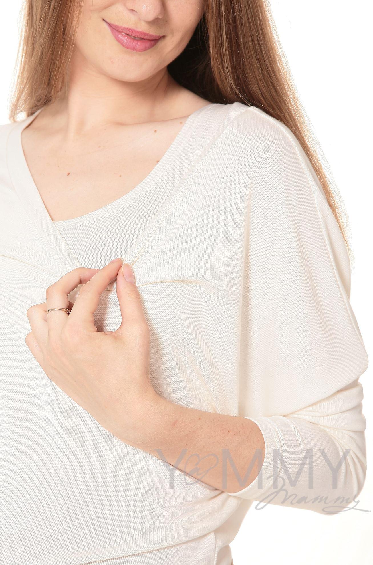 Изображение                               Блуза летучая мышь с топом экрю