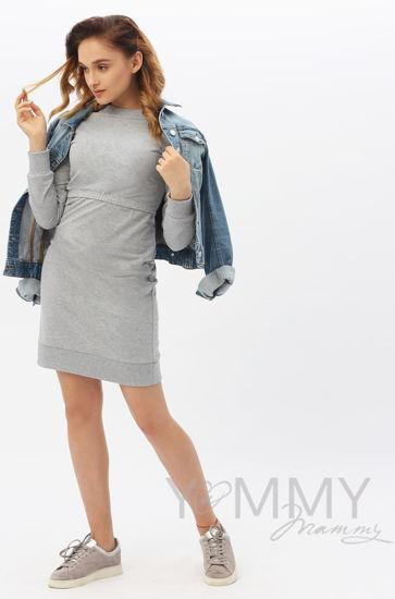 Изображение                               Платье футляр серый меланж