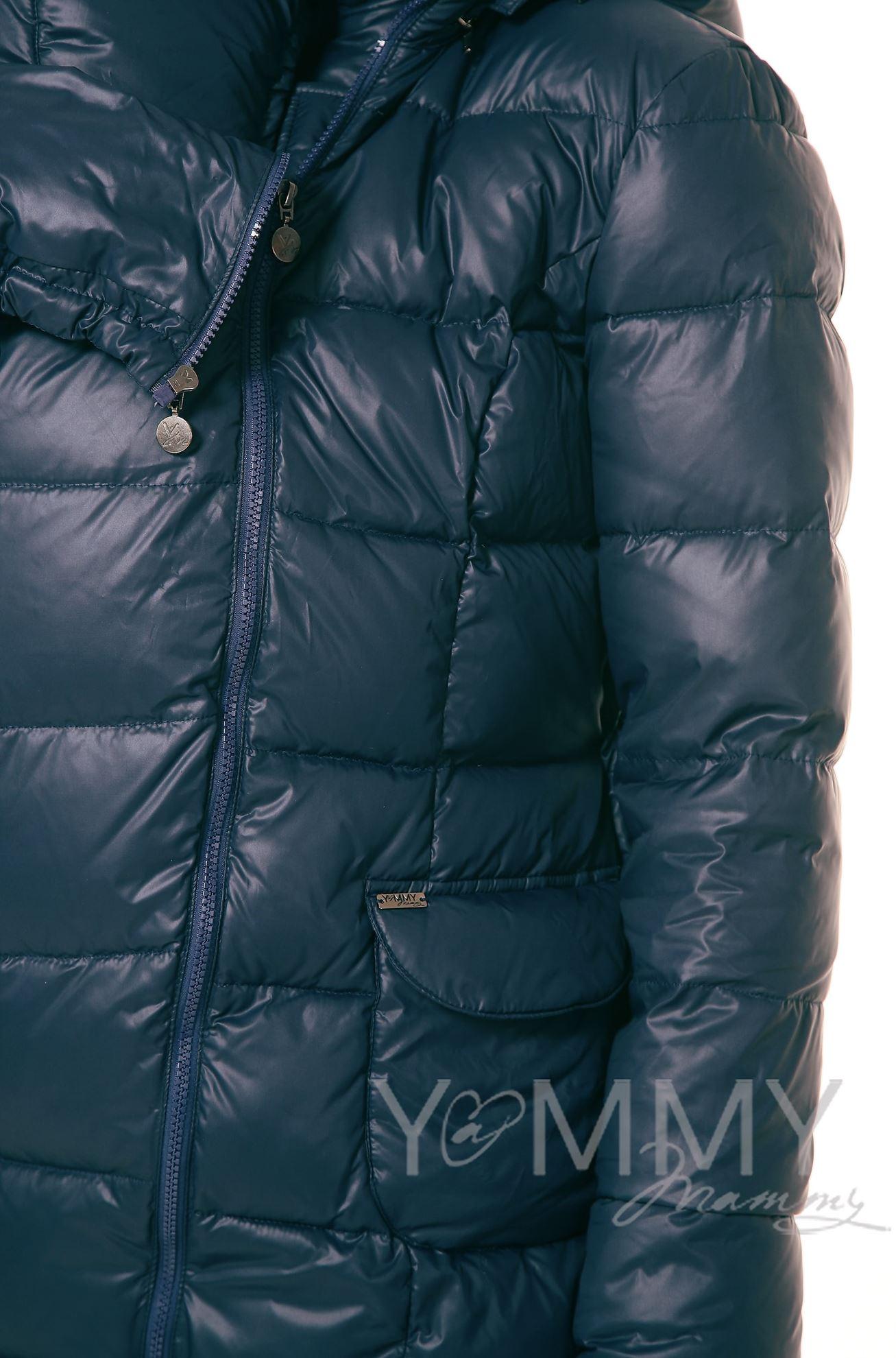 Изображение                               Пуховое слингопальто 3 в 1 темно-синее