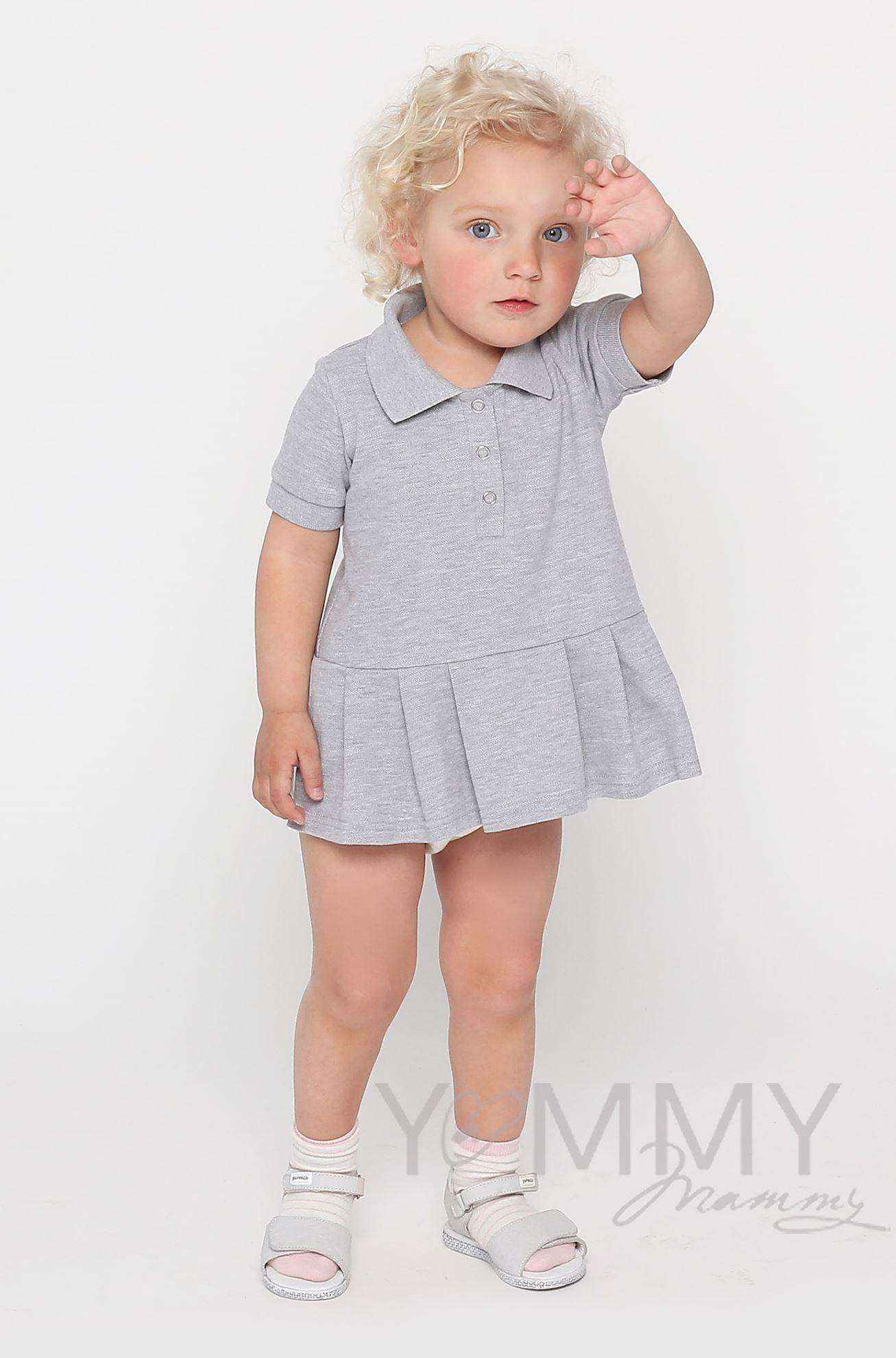 Изображение                               Детское платье поло с воланом серый меланж