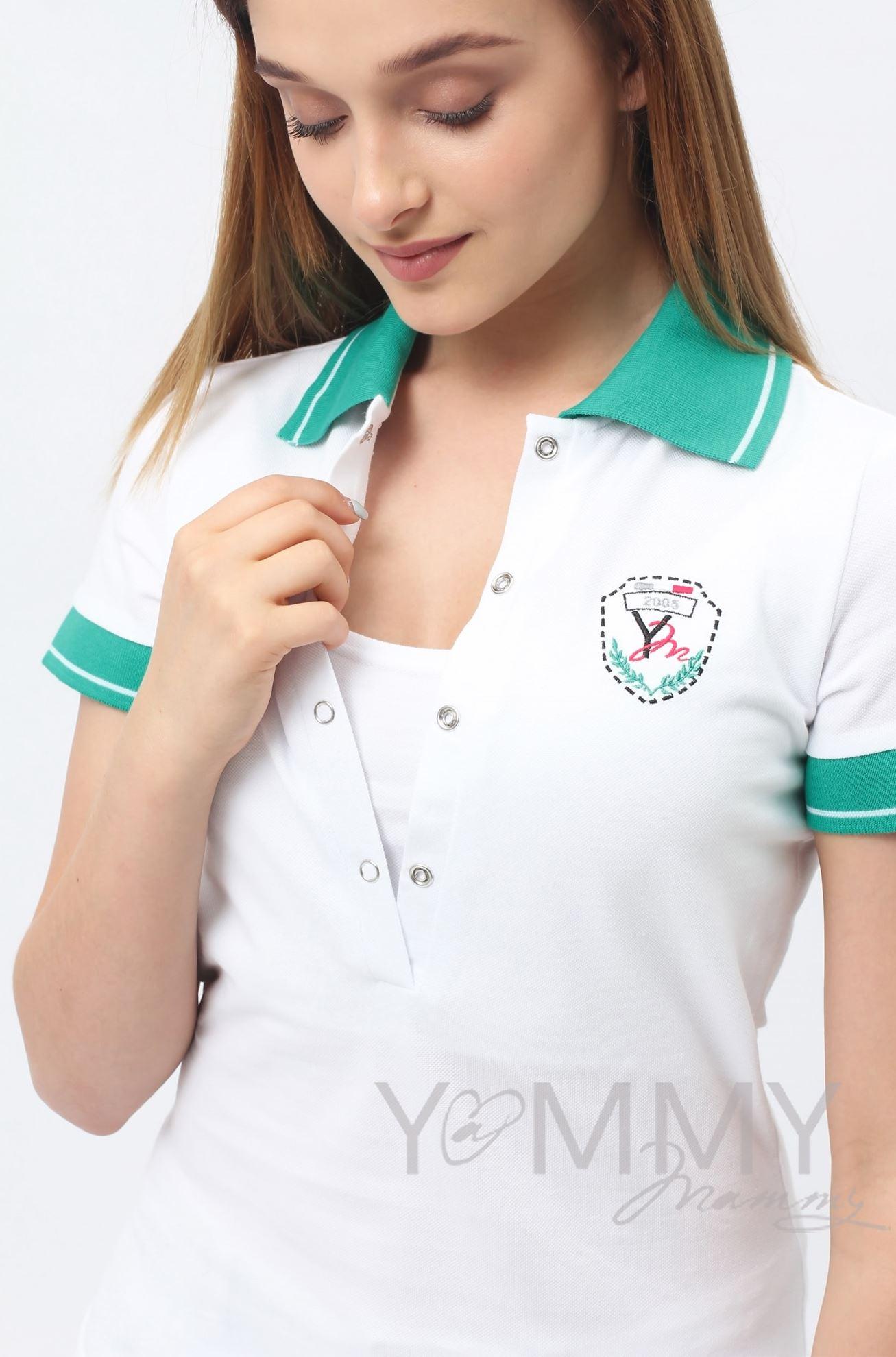 Изображение                               Футболка поло белая с зеленым воротником