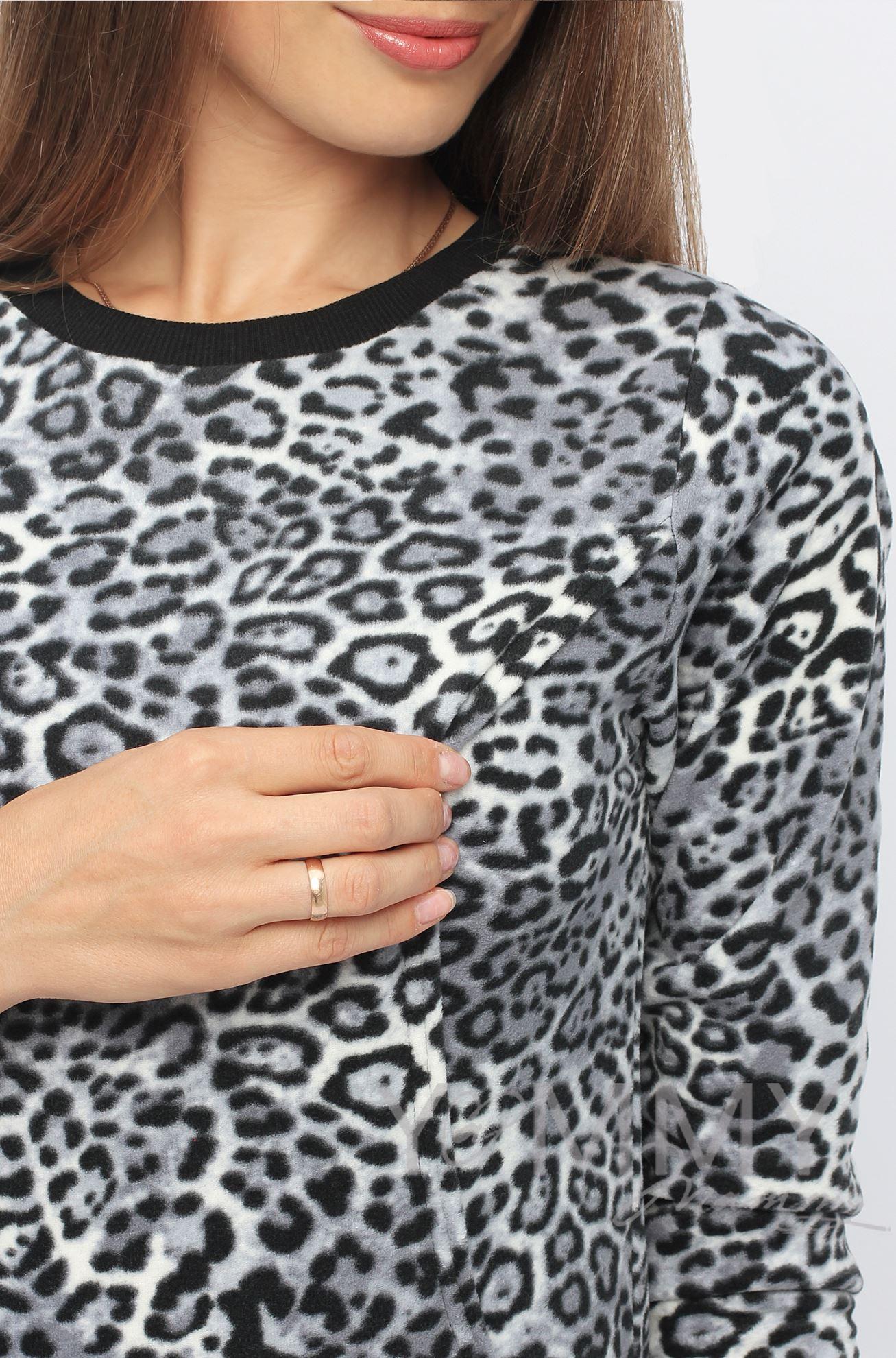 """Изображение                               Джемпер флисовый серый """"леопард"""""""