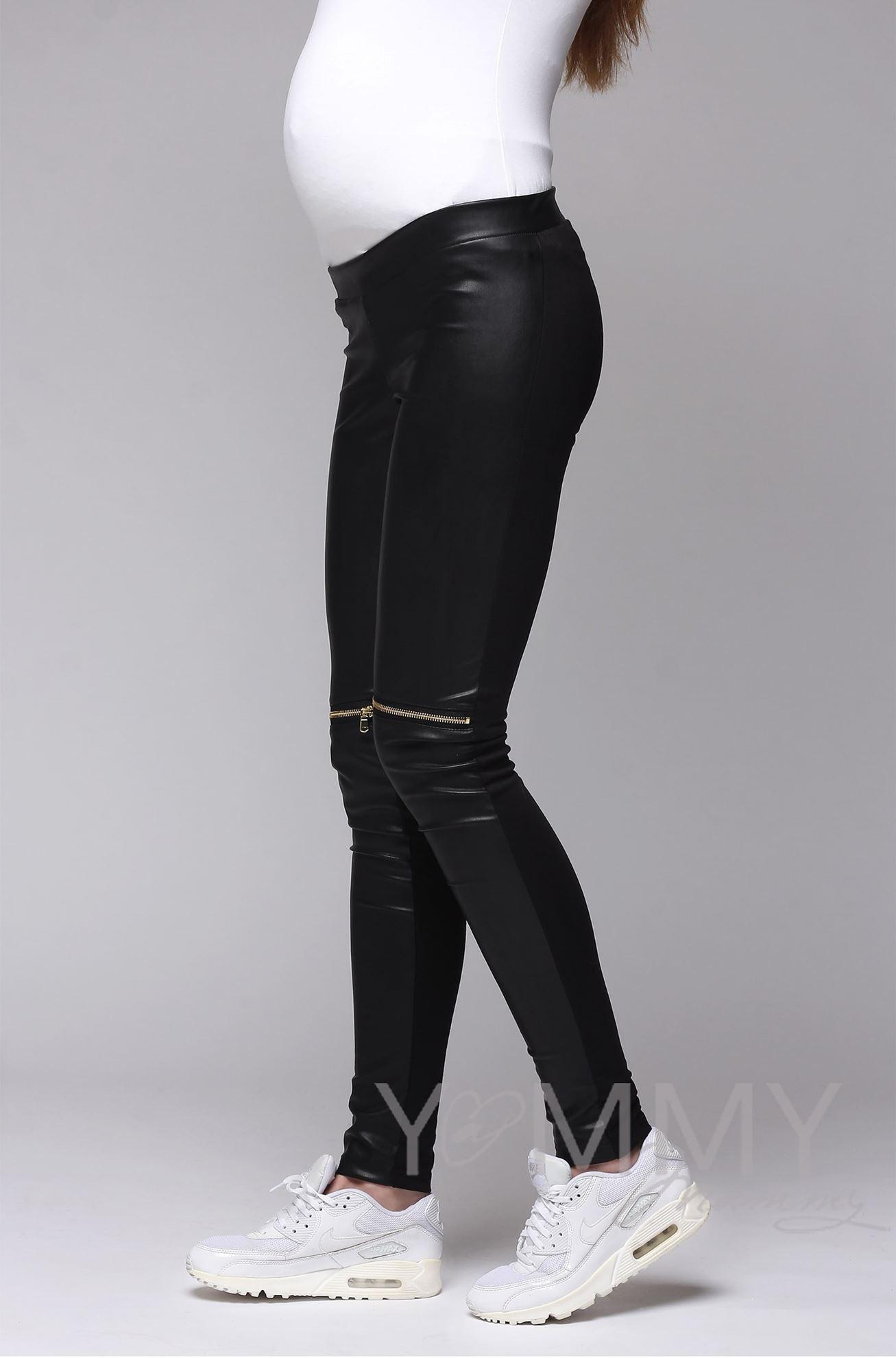 Изображение                               Универсальные брюки из эко-кожи черные с декоративными молниями