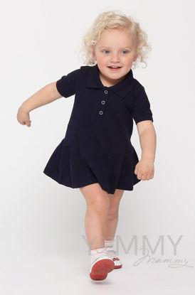 Изображение                               Детское платье поло с воланом темно-синее