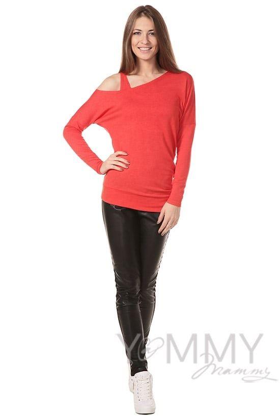 Изображение                               Блуза со спущенным плечом красный мак