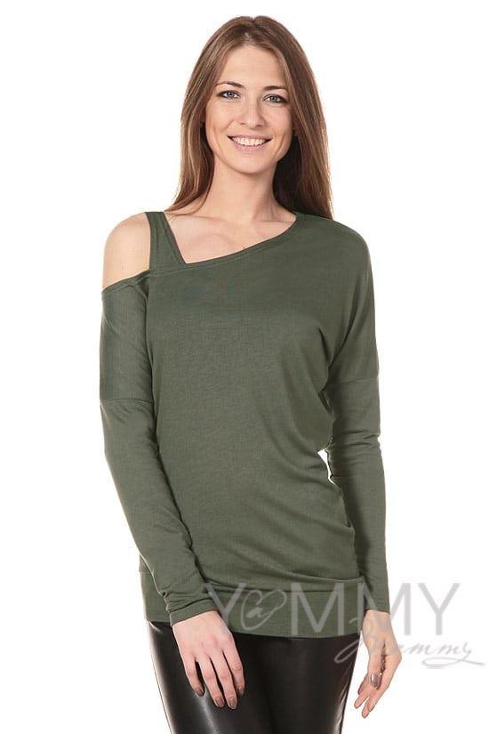 Изображение                               Блуза со спущенным плечом хаки