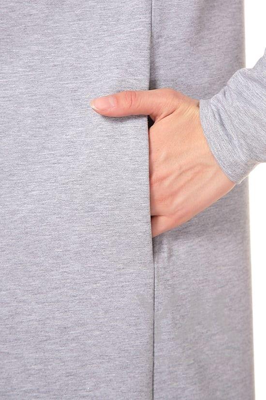 Изображение                               Платье с длинным рукавом серый меланж