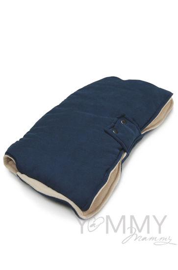 Изображение                               Муфта на коляску темно-синяя с песочным флисом