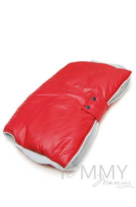 Изображение                               Муфта на коляску красная с серым флисом