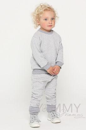 Изображение                               Детский костюмчик серый в горошек