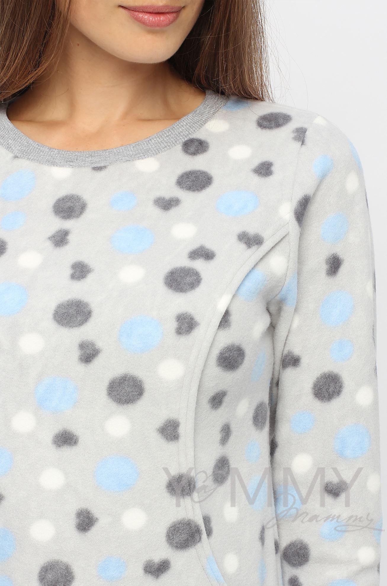 Изображение                               Джемпер флисовый серый с голубыми и серыми кругами
