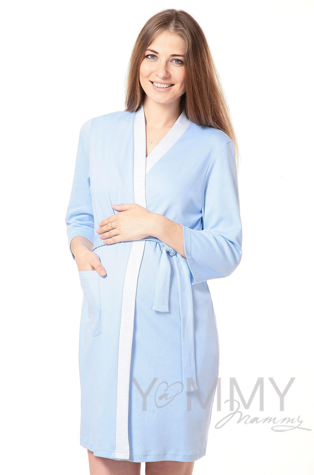 Изображение                               Комплект халат с сорочкой голубой с белой полоской