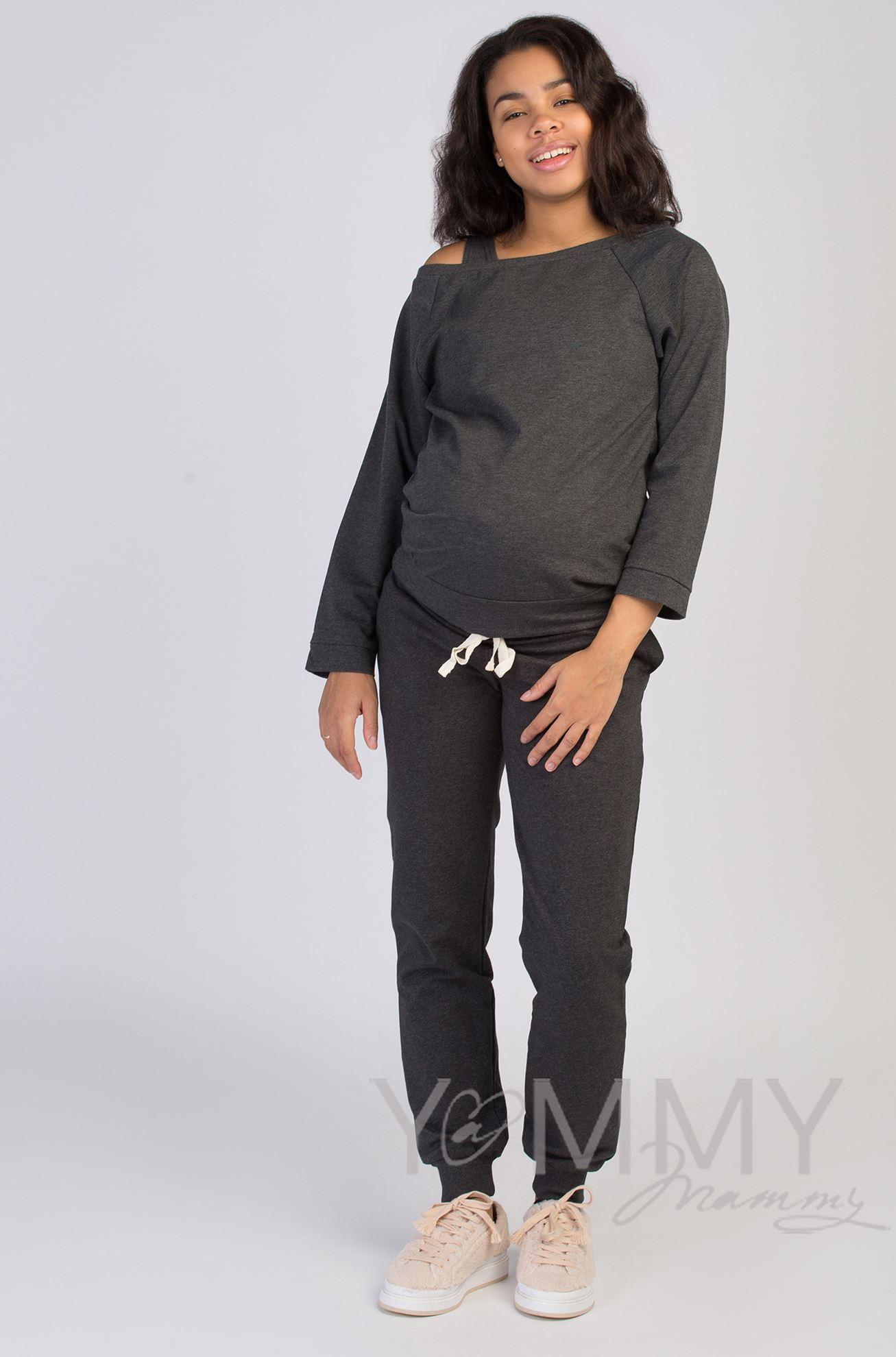 Изображение                               Универсальные спортивные брюки из футера темно-серый меланж