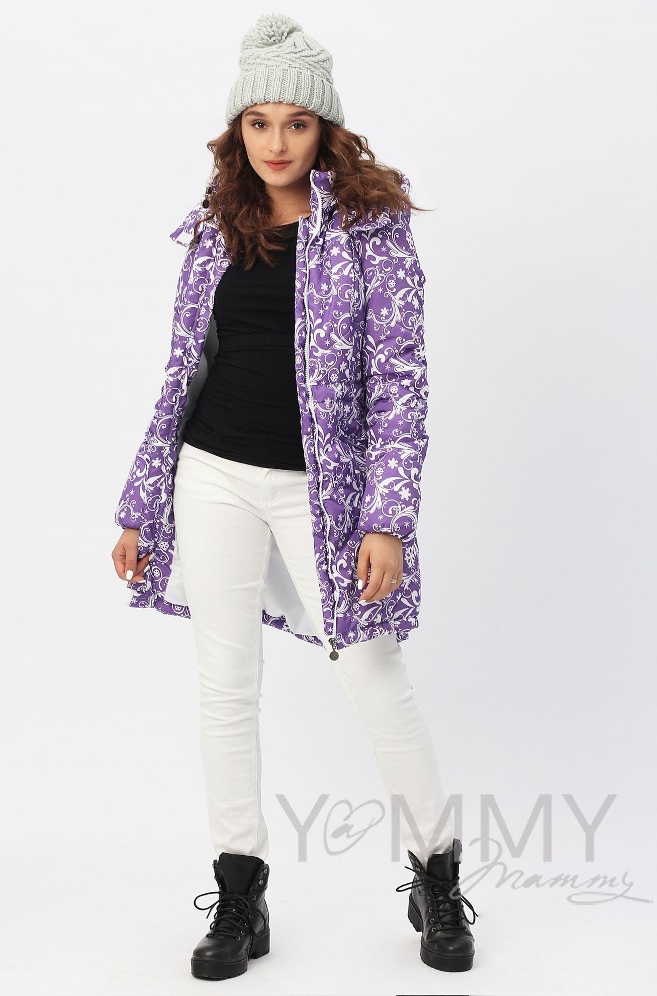 Изображение                               Слингокуртка 3 в 1 фиолетовая с белым узором