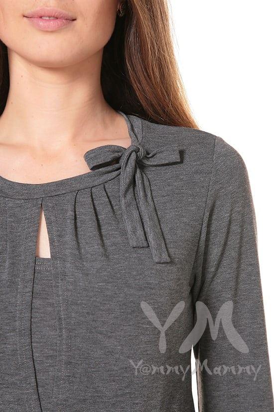 Изображение                               Блуза с бантом серый меланж
