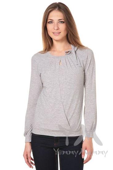 Изображение                               Блуза с бантом светло-серый меланж