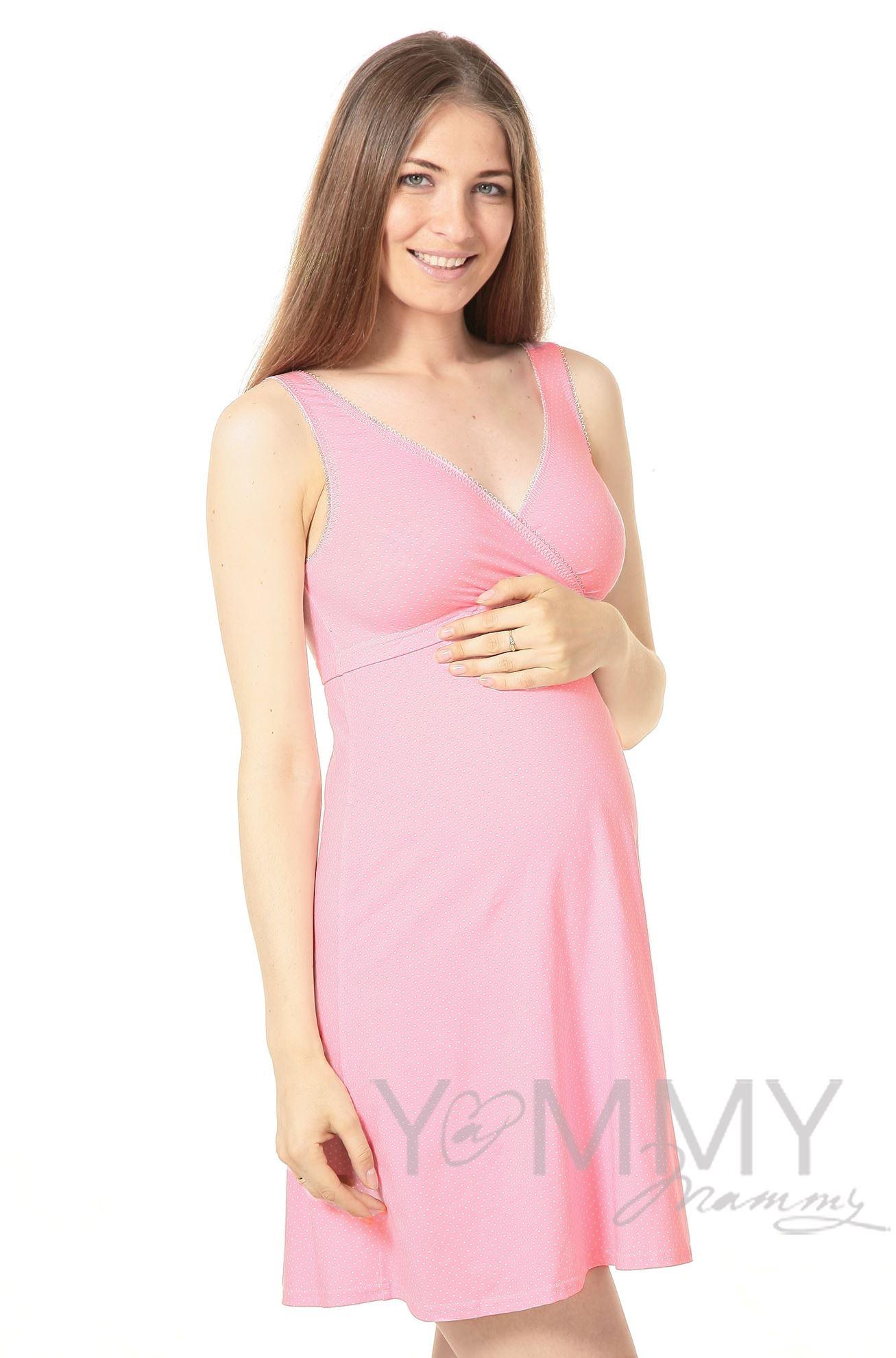 Изображение                               Ночная сорочка - топ розовая в белый горошек