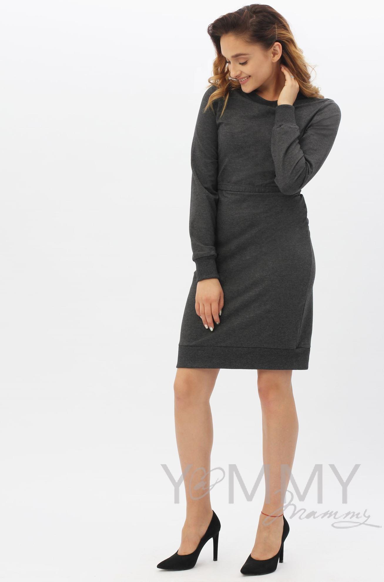 Изображение                               Платье футляр темно-серый меланж