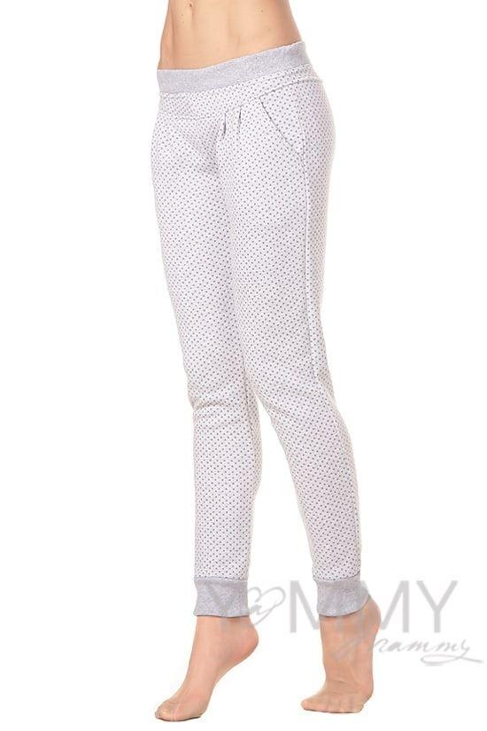Изображение                               Универсальные спортивные брюки серые в горошек