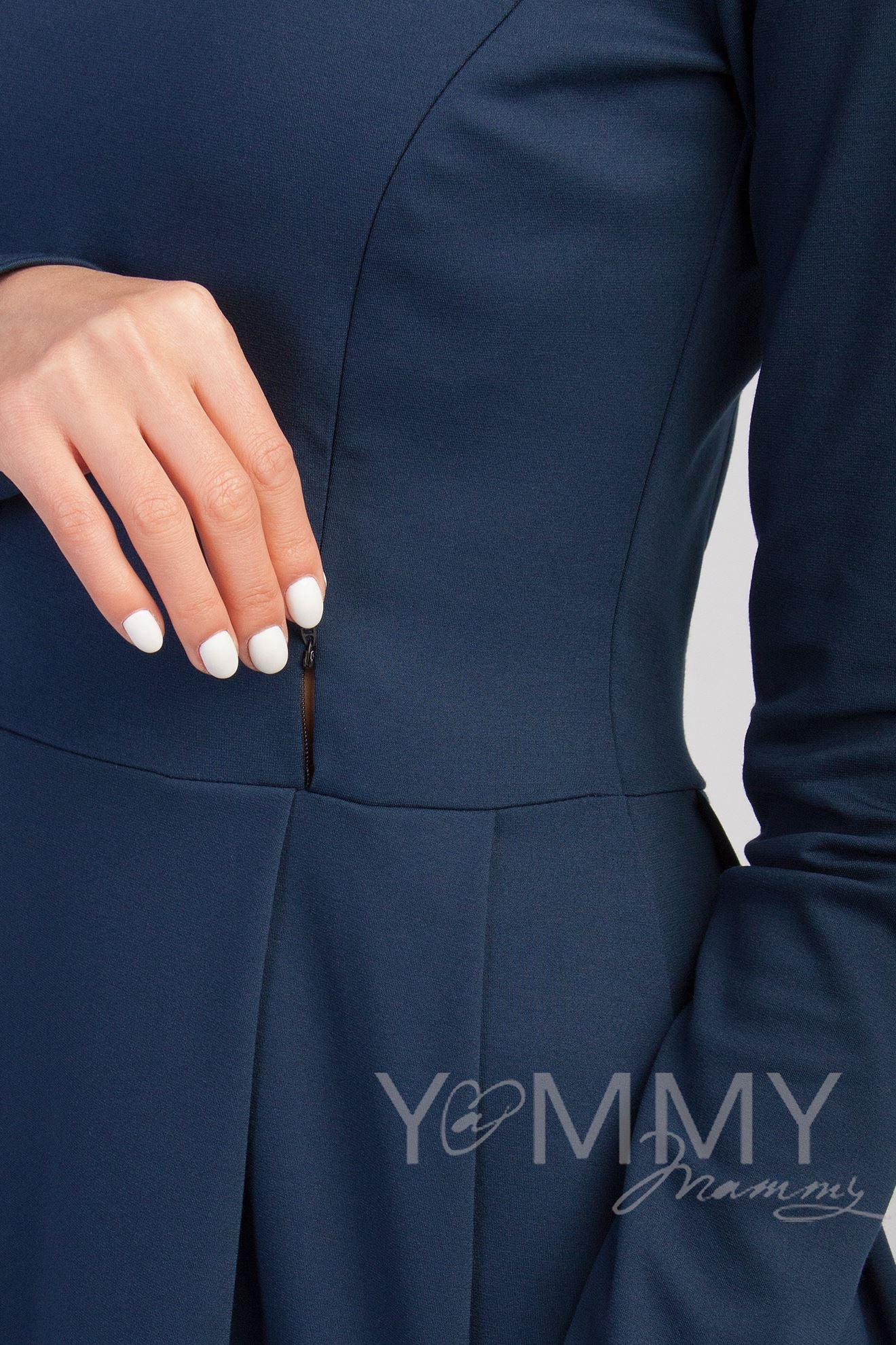 Изображение                               Платье со складками темно-синее