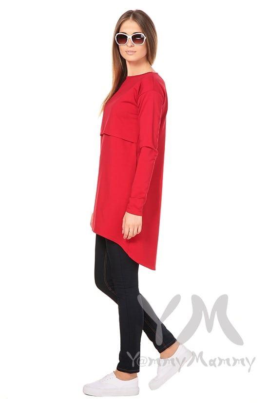 Изображение                               Платье с длинным рукавом красное