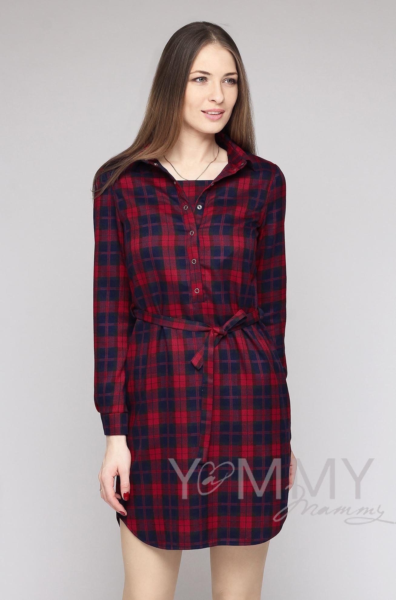Изображение                               Платье-рубашка в красно-синюю клетку