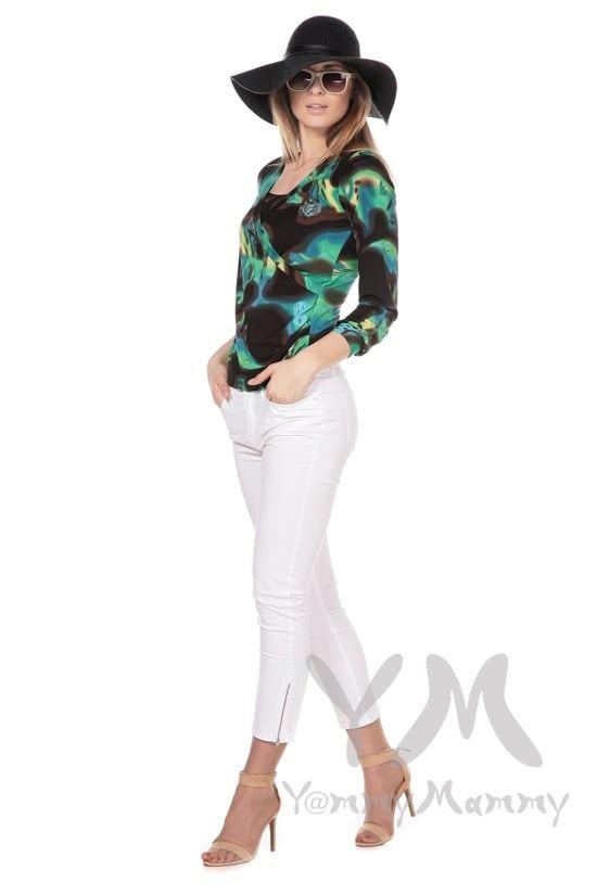 Изображение                               Блуза на запах зеленая