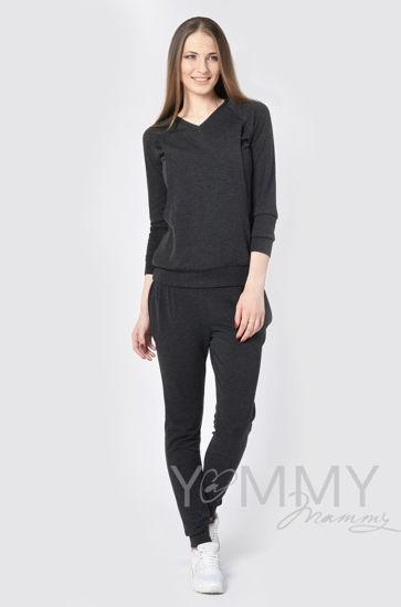 Изображение                               Костюм из джемпера и брюк темно-серый меланж