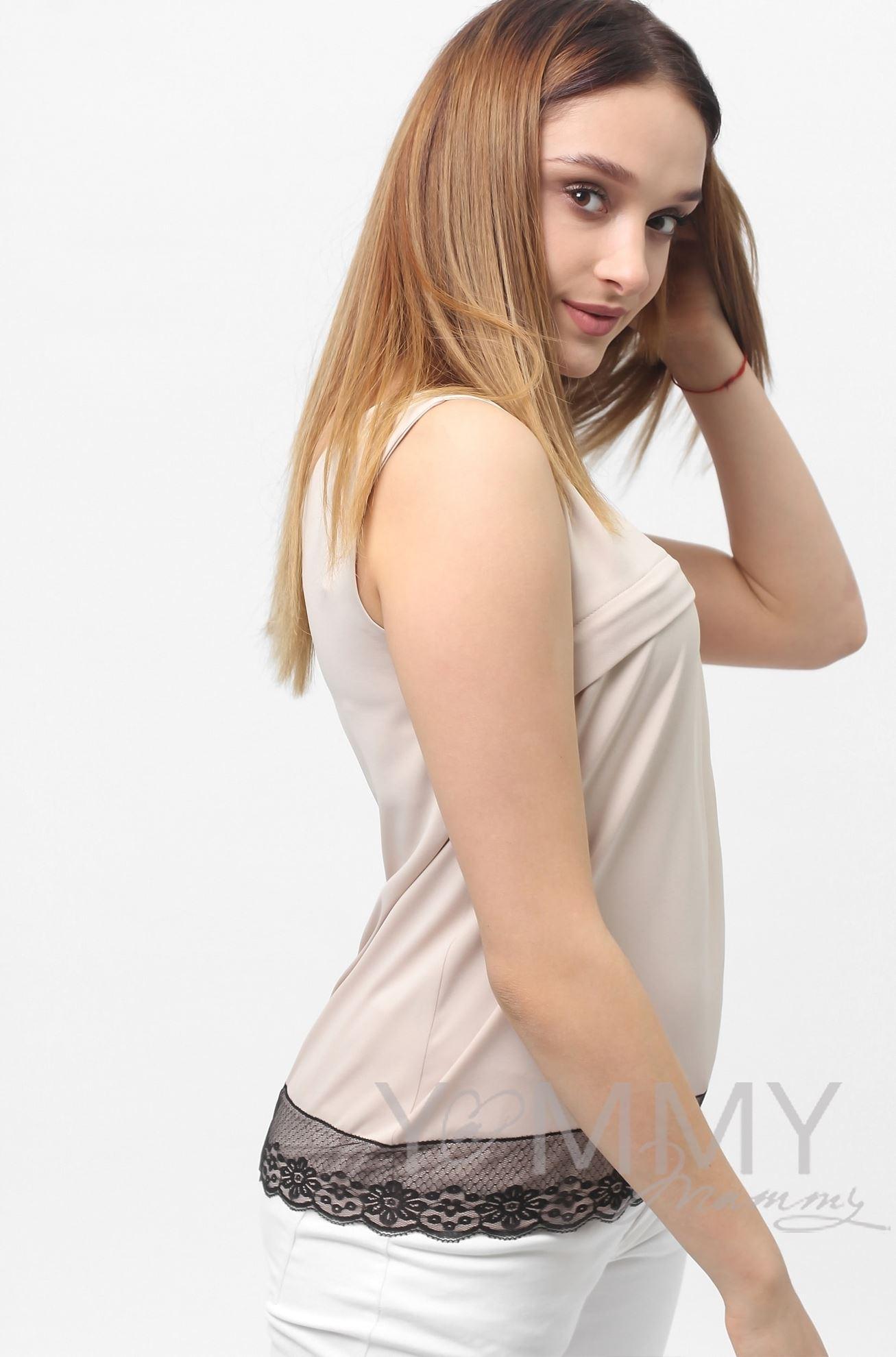 Изображение                               Блуза бежевая с кружевом