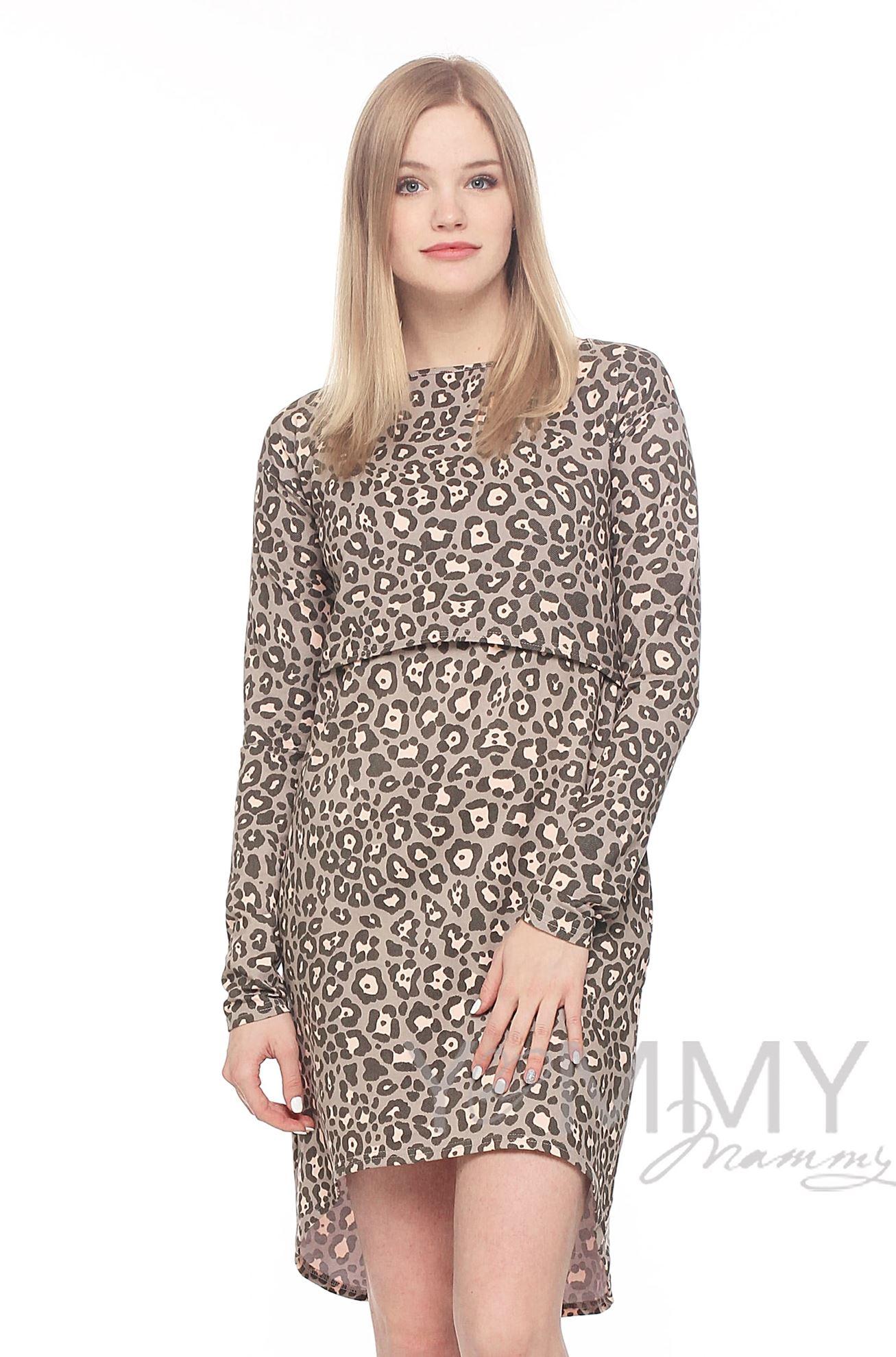Изображение                               Платье с длинным рукавом с леопардовым принтом