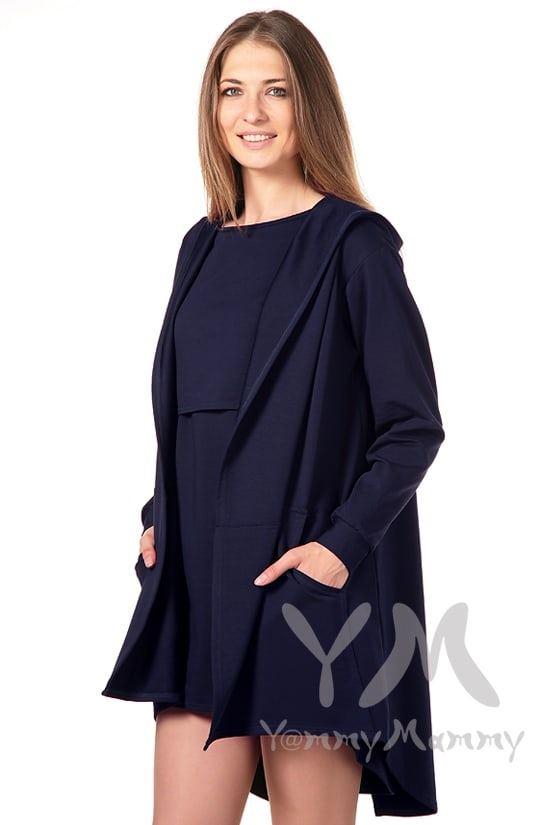 Изображение                               Платье с длинным рукавом темно-синее