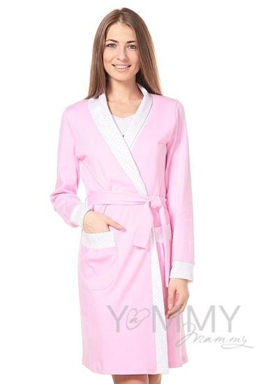 Изображение                               Халат розовый с отделкой в розовый горошек