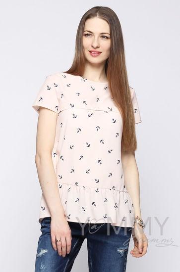 """Изображение                               Блуза с воланом персиковая с принтом """"якоря"""""""