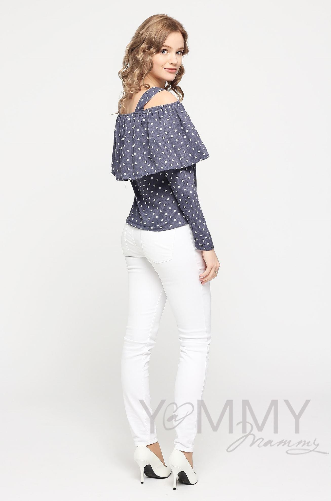 Изображение                               Блуза с воланом синяя в горох