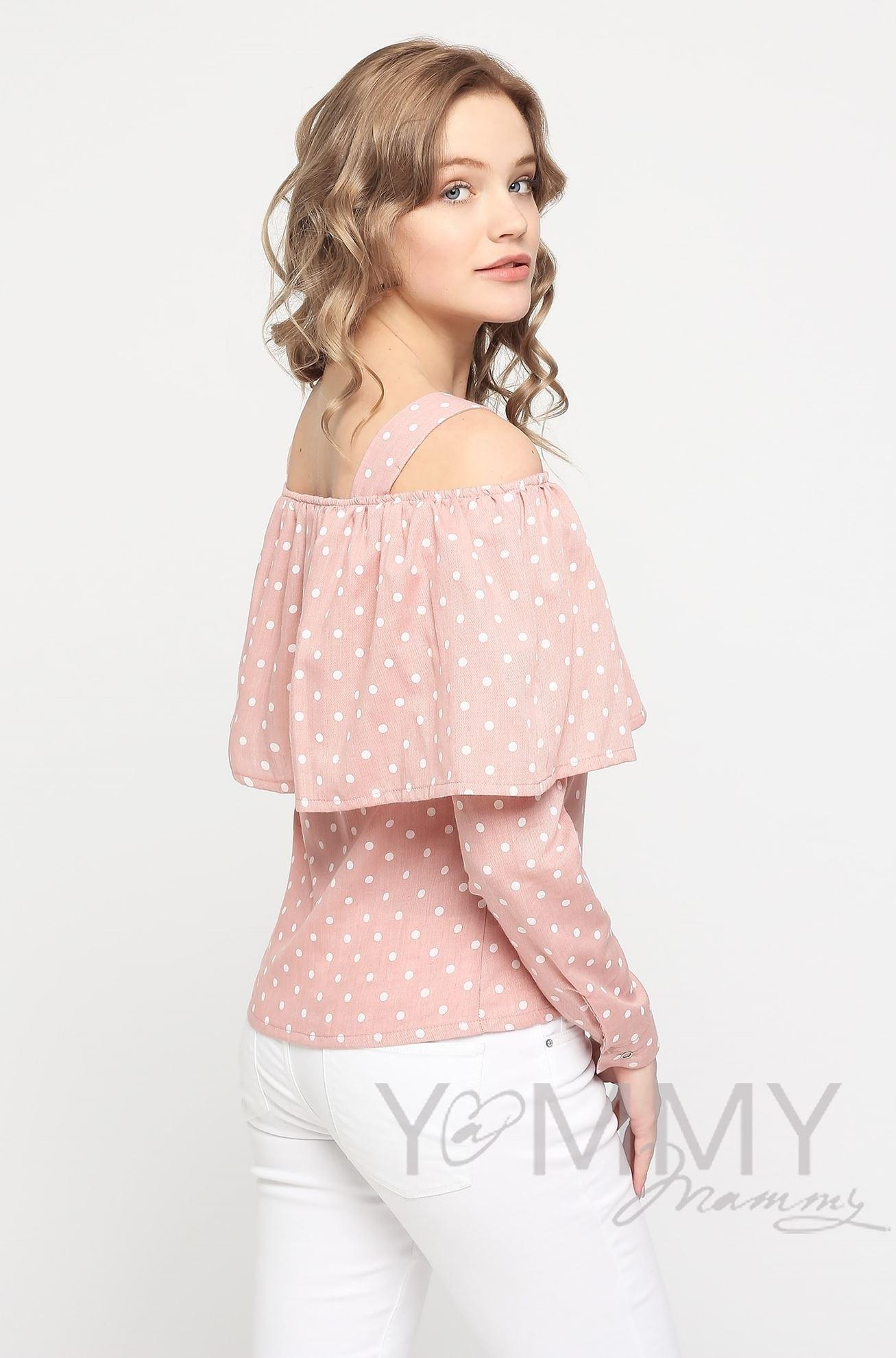 Изображение                               Блуза с воланом светло-розовая в горох