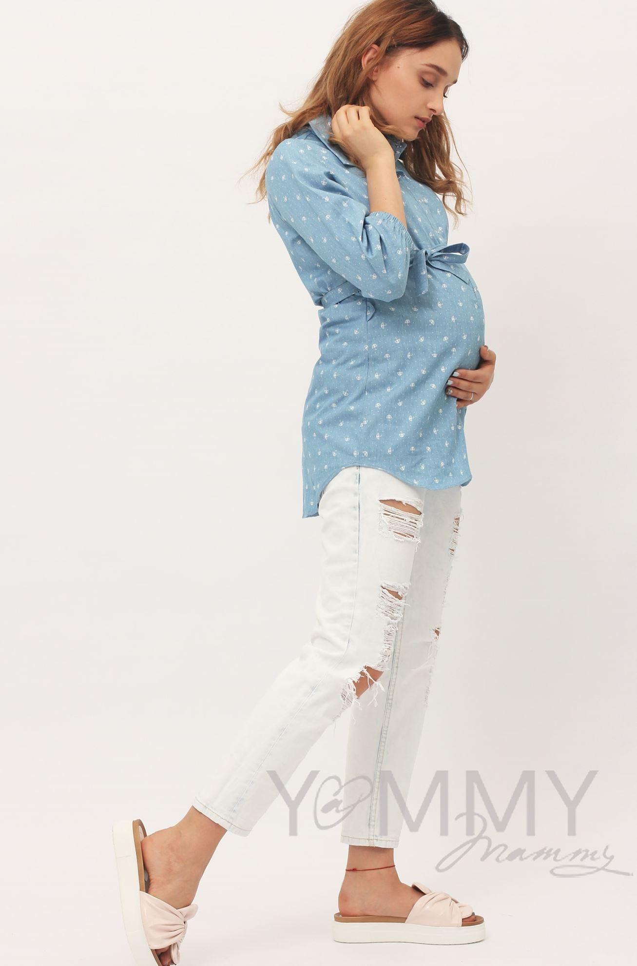 """Изображение                               Рубашка джинсовая голубая с принтом """"зонтики"""""""