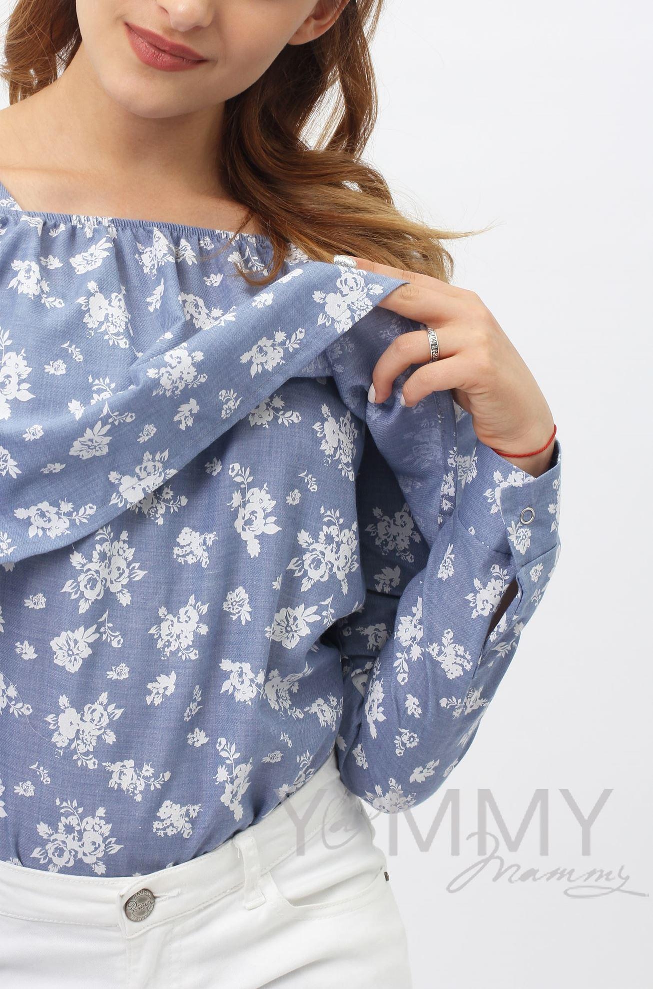 Изображение                               Блуза с воланом голубая с цветочным принтом