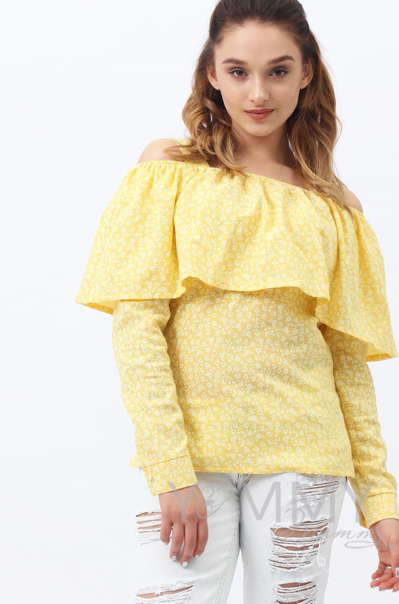Изображение                               Блуза с воланом желтая с цветочным принтом