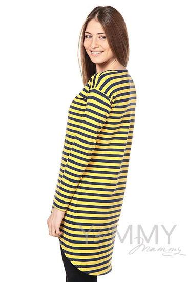 Изображение                               Платье с длинным рукавом желтая / синяя полоска