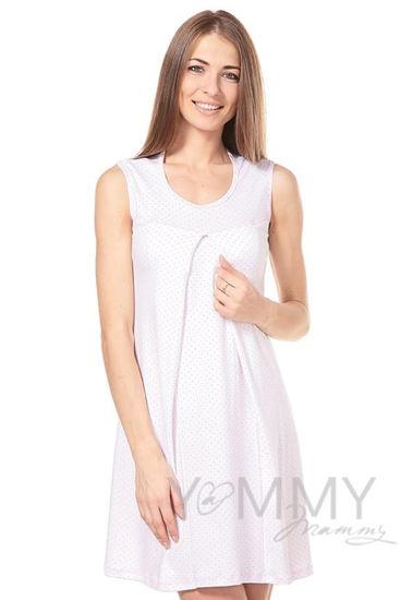 Изображение                               Сорочка белая в розовый горошек