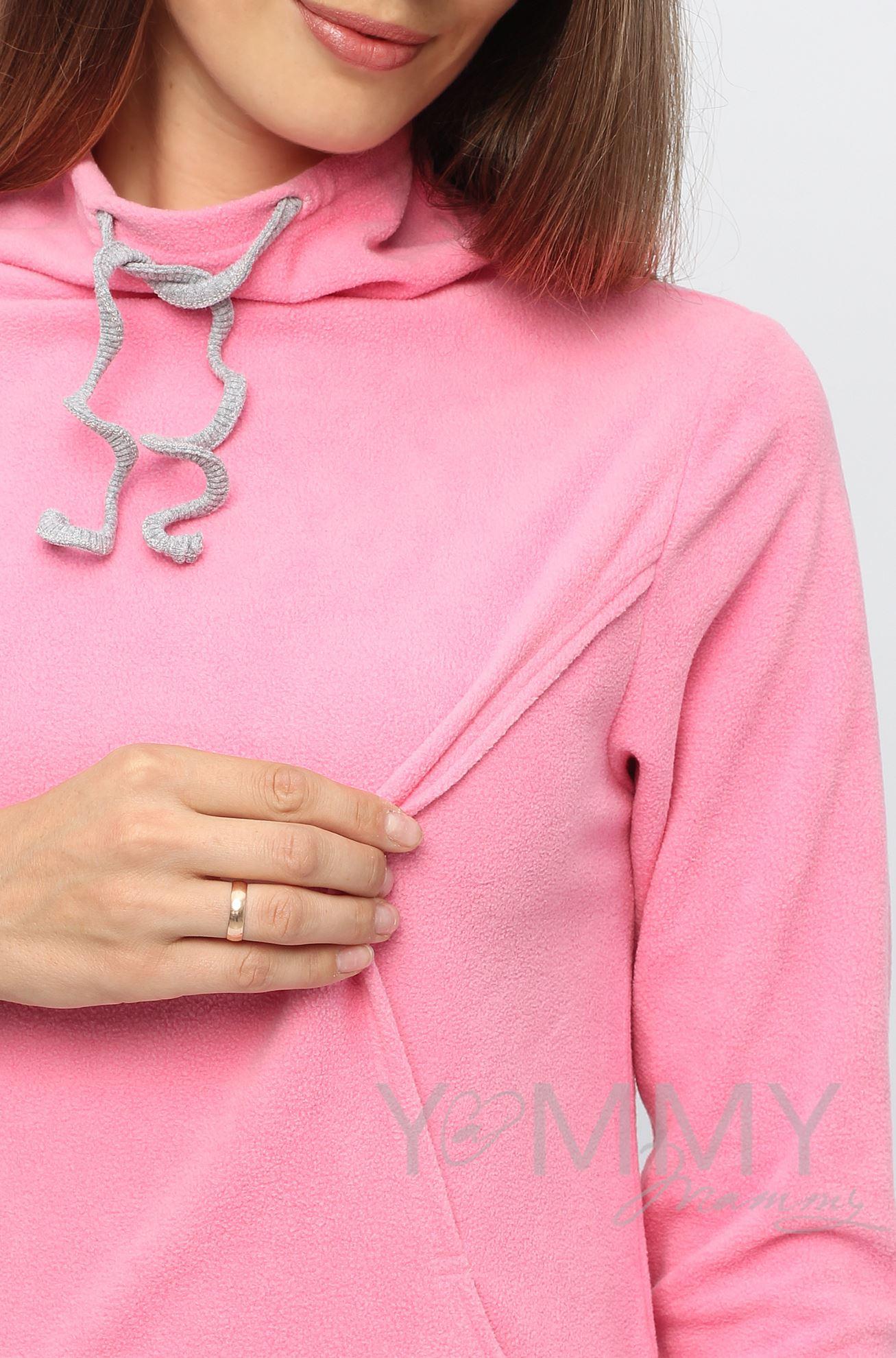 Изображение                               Толстовка флисовая с завязками розовая