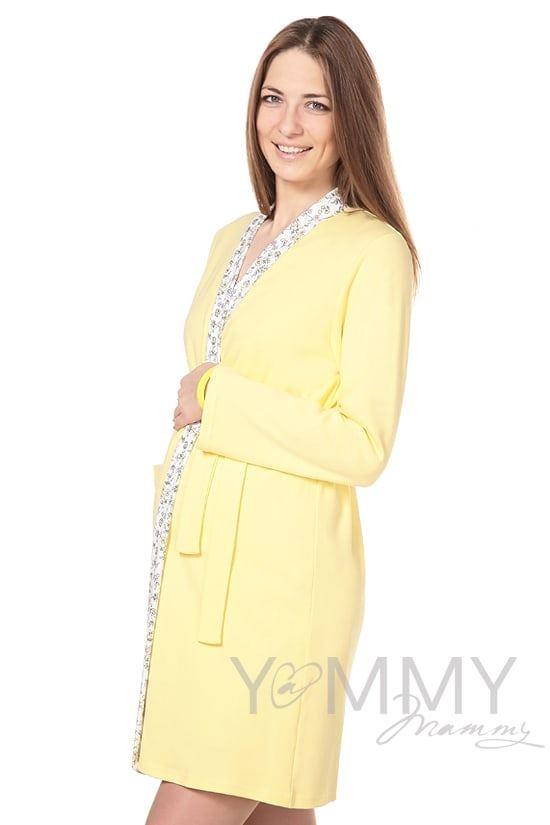 Изображение                               Комплект халат с сорочкой желтый с цветочками