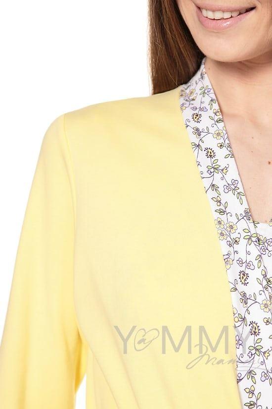 Изображение                               Халат желтый с отделкой цветочный принт