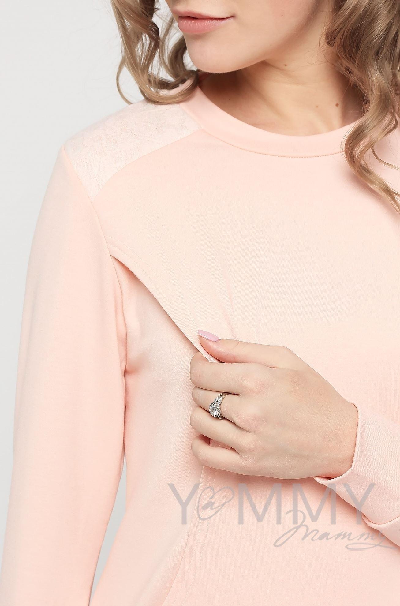 Изображение                               Свитшот светло-розовый с кружевом