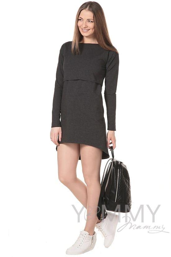Изображение                               Платье с длинным рукавом темно-серое