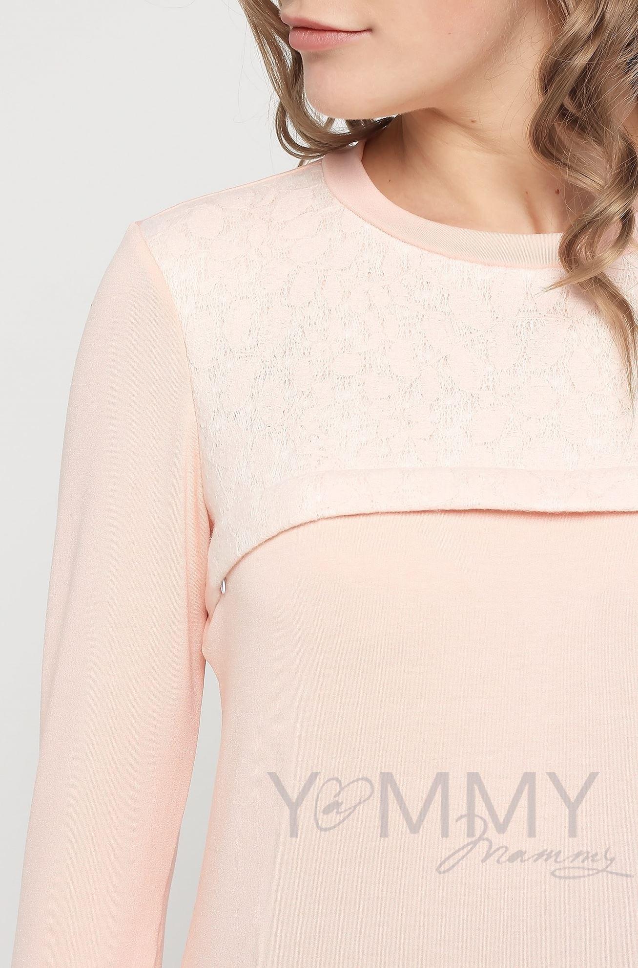 Изображение                               Свитшот светло-розовый с кружевной вставкой
