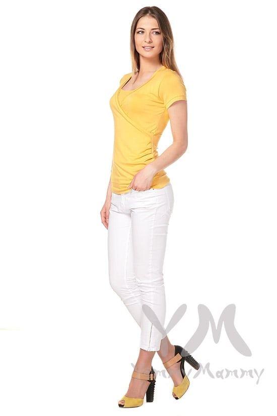 Изображение                               Блуза на запах янтарно-желтая