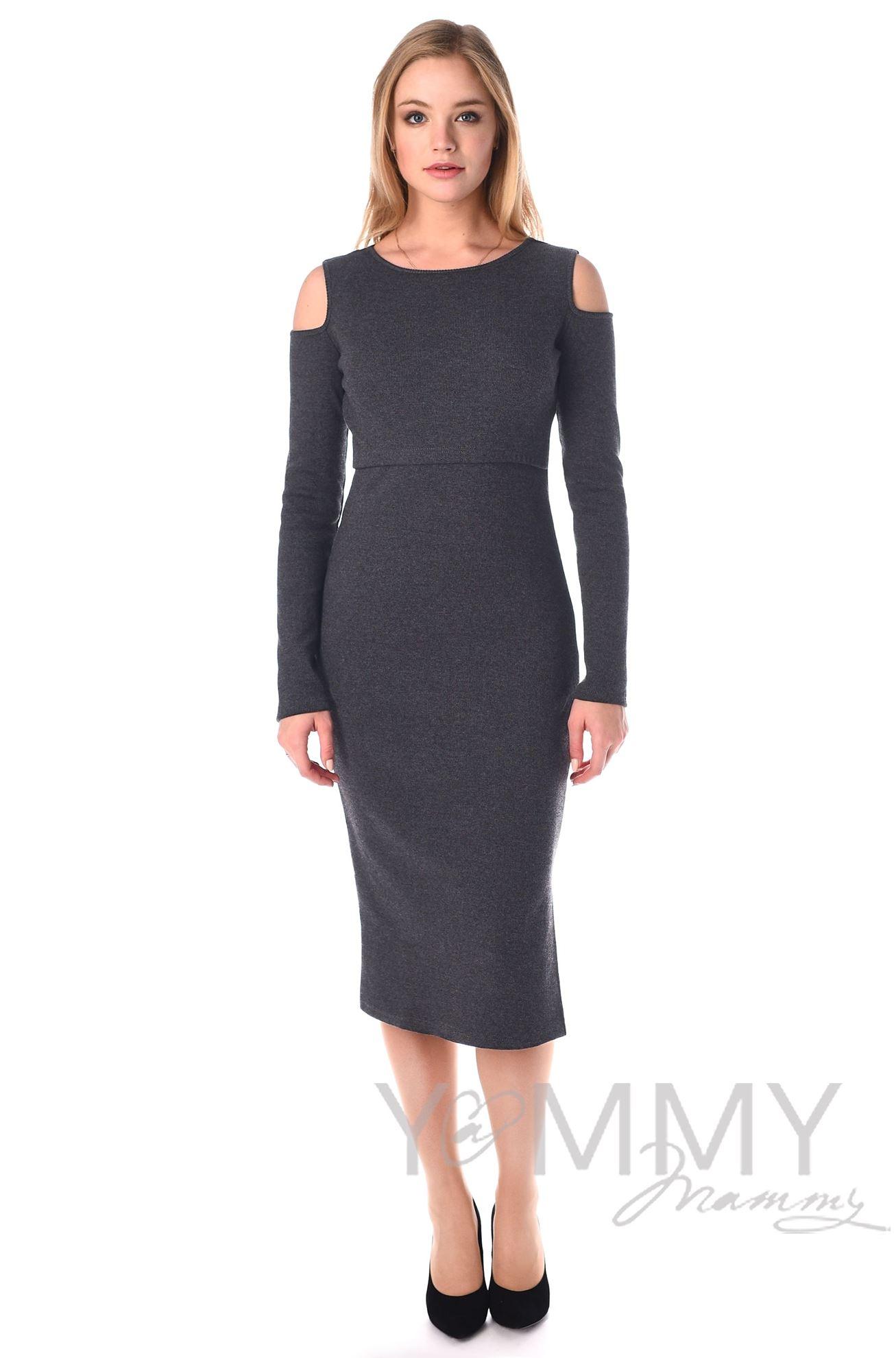 Изображение                               Платье миди с разрезами по бокам темно-серый меланж