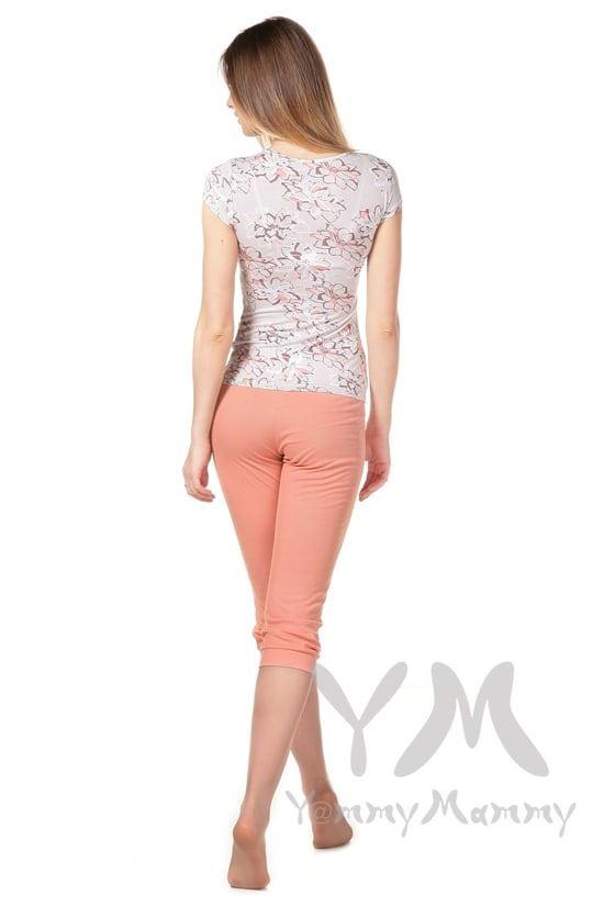 Изображение                               Пижама персиковая с цветочным принтом